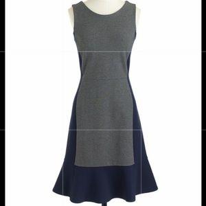 J. Crew Ponte Knit Grey Blue Contrast Dress